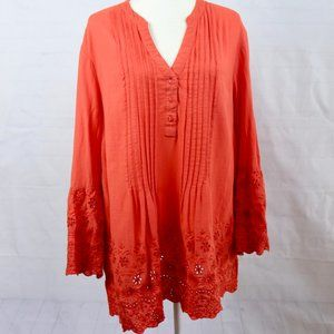 Style & Co Coral Embroidered Button Tunic XXL